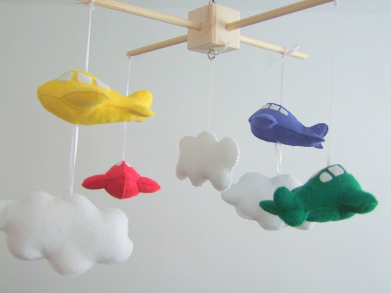 Felt Baby Crib Airplane Mobile White Red Green Yellow Blue Handmade Nursery Decor Pick Your Colors