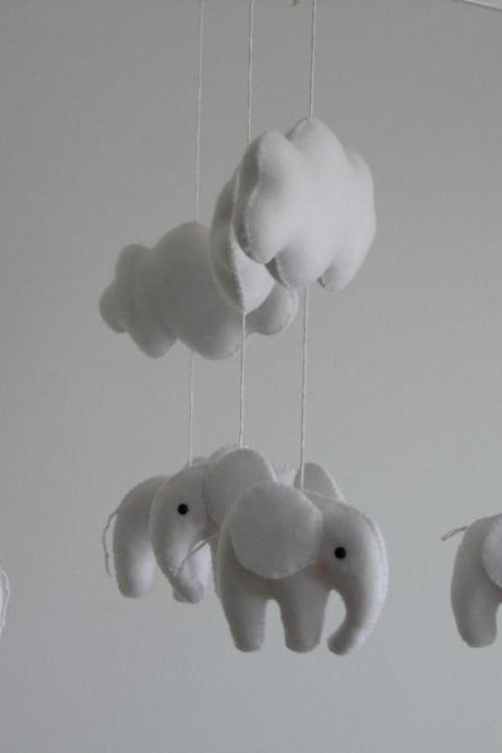 Baby Crib mobile Sleeping Elephant White & Grey baby mobile handmade baby mobile felt