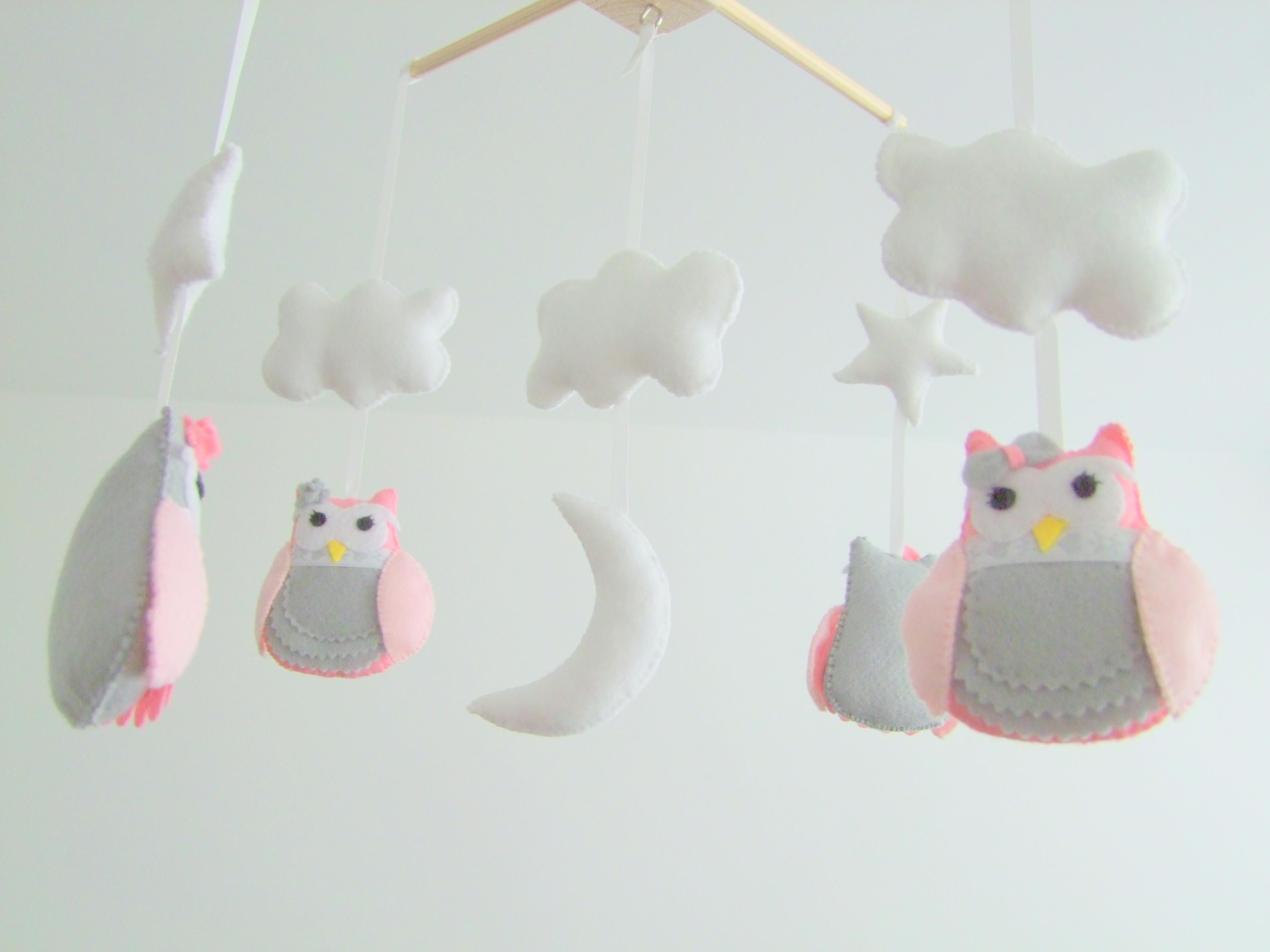 Personalized Handmade Baby Crib Mobile Felt Owl Pink Grey Nursery Custom Colors